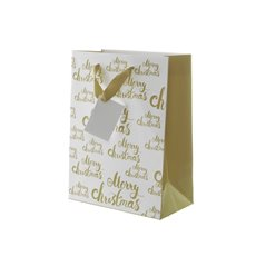 Gloss Paper Bag Merry Christmas 5Pk Gold (240x120x355mmH)