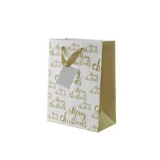 Gloss Paper Bag Merry Christmas 5Pk Gold (205x110x275mmH)