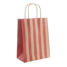 Kraft Paper Carry Bags - Kraft Paper Bag Stripes Red (240x120x355mmH) Pack 5