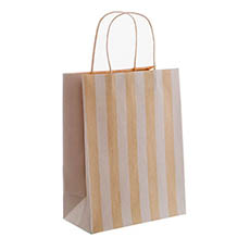 Kraft Paper Carry Bags - Kraft Paper Bag Stripes White (240x120x355mmH) Pack 5
