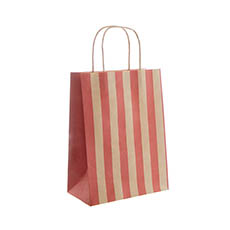 Kraft Paper Carry Bags - Kraft Paper Bag Stripes Red (205x110x275mmH) Pack 5