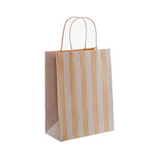 Kraft Paper Carry Bags - Kraft Paper Bag Stripes White (205x110x275mmH) Pack 5