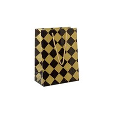 Glossy Gift Carry Bags - Gloss Paper Bag Checker Black Gold (205x110x275mmH) Pack 5