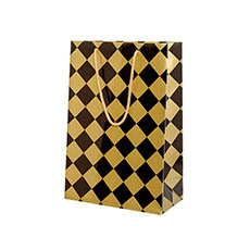 Glossy Gift Carry Bags - Gloss Paper Bag Checker Black Gold (240x120x355mmH) Pack 5