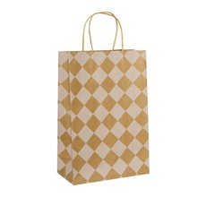 Kraft Paper Carry Bags - Kraft Paper Bag Checker Kraft White (240x120x355mmH) Pack 5
