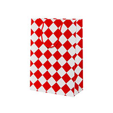 Glossy Gift Carry Bags - Gloss Paper Bag Checker White Red (240x120x355mmH) Pack 5