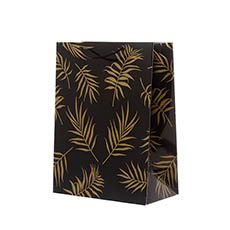 Glossy Gift Carry Bags - Gloss Paper Bag Large Leaf Black Gold(240x120x355mmH) Pack 5