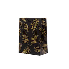 Glossy Gift Carry Bags - Gloss Paper Bag Med Leaf Black Gold (205x110x275mmH) Pack 5