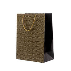 Glossy Gift Carry Bags - Gloss Paper Bag Large Scallop Black (240x120x355mmH) Pack 5
