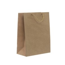 Kraft Paper Carry Bags - Kraft Paper Bag Large Scallop Gold (240x120x355mmH) Pack 5
