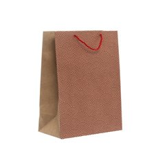 Kraft Paper Carry Bags - Kraft Paper Bag Large Scallop Red (240x120x355mmH) Pack 5