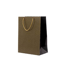 Glossy Gift Carry Bags - Gloss Paper Bag Med Scallop Black (205x110x275mmH) Pack 5