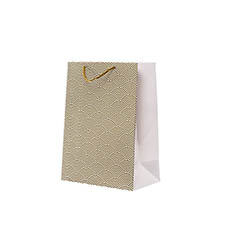 Glossy Gift Carry Bags - Gloss Paper Bag Med Scallop Gold (205x110x275mmH) Pack 5