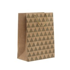 Kraft Paper Carry Bags - Kraft Paper Bag Large Geo Gold (240x120x355mmH) Pack 5