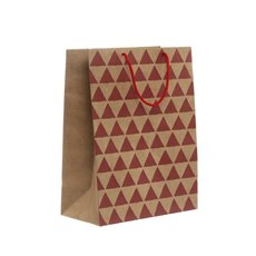 Kraft Paper Carry Bags - Kraft Paper Bag Large Geo Red (240x120x355mmH) Pack 5