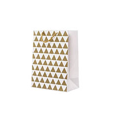 Glossy Gift Carry Bags - Gloss Paper Bag Med Geo Gold (205x110x275mmH) Pack 5