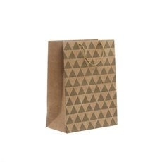 Kraft Paper Carry Bags - Kraft Paper Bag Med Geo Gold (205x110x275mmH) Pack 5