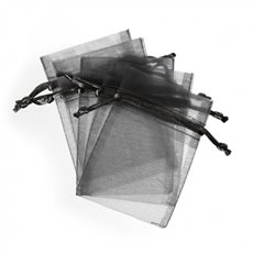 Organza Bag Medium 10 Pack Black (12.5x17cmH)