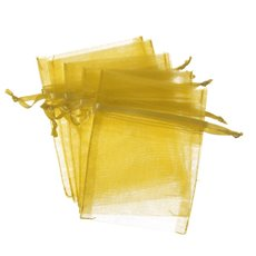 Organza Bag Gold Medium 10 Pack (12.5x17cmH)