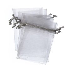 Organza Bags - Organza Bag Medium Metallic White Silver (12.5x17cmH)Pack 10