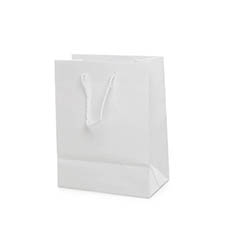 Glossy Gift Carry Bags - Paper Bag Gloss Shopper Small White (200Wx115Gx260mmH)