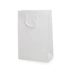 Glossy Gift Carry Bags - Paper Bag Gloss Shopper Medium White (240Wx120Gx355mmH)