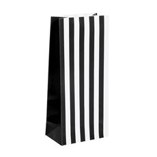 Party & Food Bags - Lolly Bag Large Stripes Black (10Wx6Gx22.5cmH) Pack 25