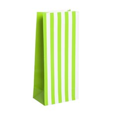 Party & Food Bags - Lolly Bag Large Stripes Lime (10Wx6Gx22.5cmH) Pack 25