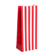 Lolly Bag Large Stripes 25 Pack Red (10Wx6Gx22.5cmH)