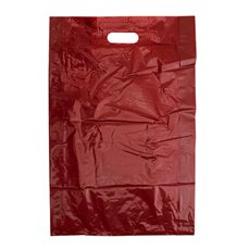 Gloss Plastic Bag Die Cut Handle Large Red (355x75Gx520mmH)