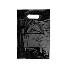 Plastic Checkout Carry Bags - Gloss Plastic Checkout Bag Small Black (250x380mmH)