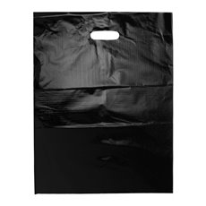 Plastic Bag Economy Die Cut Handle Black 25 Pack(415x530mmH)