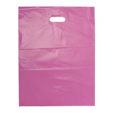 Plastic Bag Economy Die Cut Handle Pink 25 Pack (415x530mmH)