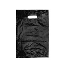 Plastic Bag Economy Die Cut Handle Black 25 Pack(255x380mmH)