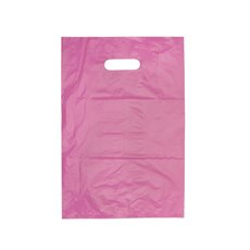 Plastic Bag Economy Die Cut Handle Pink 25 Pack (255x380mmH)
