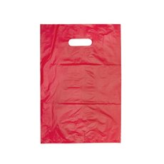 Plastic Checkout Carry Bags - Plastic Bag Economy Checkout Bag Red (255x380mmH) Pack 25