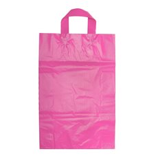 Plastic Bag Loop Handle Hot Pink 450Hx310Wx110mmG Large