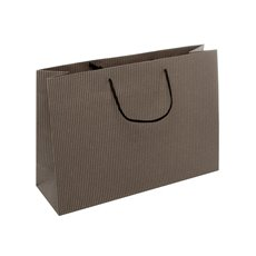 Kraft Paper Carry Bags - Kraft Paper Striped Bag Medium Black (350Wx110Gx250mmH)