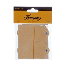 Gift Tags & Labels - Hanging Gift Tags Natural Brown Kraft (5x9cmH) Pack 20