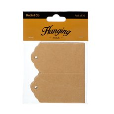 Gift Tags & Labels - Hanging Gift Tags Folded Brown Kraft (5x9cmH) Pack 20