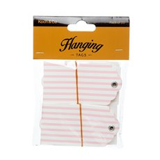 Gift Tags & Labels - Hanging Gift Tags Stripes Baby Pink (5x9cmH) Pack 20