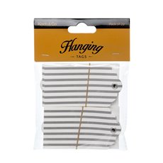 Gift Tags & Labels - Hanging Gift Tags Stripes 5x9cmH pk20 Silver