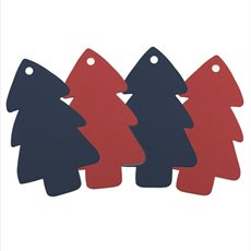 Hanging Tags Xmas Tree Shape Pk16 (5x9cmH) Red & Navy