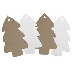 Hanging Tags Xmas Tree Shape  Pk16 (5x9cmH) Kraft & White
