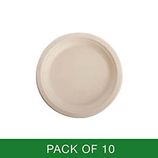 Party Tableware - Sugarcane Lunch Plate Natural (18cm) Pack 10