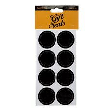Gift Tags & Labels - Gift Seal Round Stitch Gloss Black (4.5cmD) Pack 40