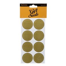 Gift Tags & Labels - Gift Seal Round Stitch Gloss Gold (4.5cmD) Pack 40