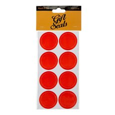 Gift Tags & Labels - Gift Seal Round Stitch 4.5cmD Gloss Red 40pcs