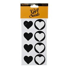 Gift Tags & Labels - Gift Seal Heart Round Gloss Black (4.5cmD) Pack 40