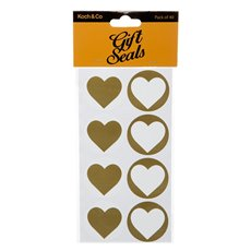 Gift Tags & Labels - Gift Seal Heart Round 4.5cmD Gloss Gold 40pcs